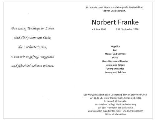 Beisetzung von Norbert Franke